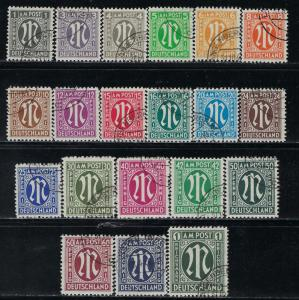 Germany AM Post Scott # 3N1 - 3N20, used, cpl. set
