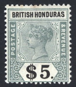 British Honduras 1898 $5 Green & Black SG 65 Scott 57 LMM/MLH Cat £325($438)
