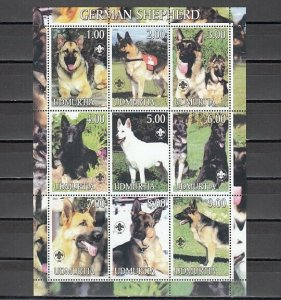 Udmurtia, 2000 Russian Local. German Shepards sheet of 9.
