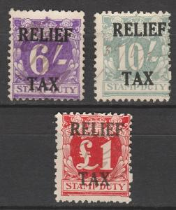 NEW SOUTH WALES 1930 RELIEF TAX REVENUE 6/- 10/- AND 1 POUND USED