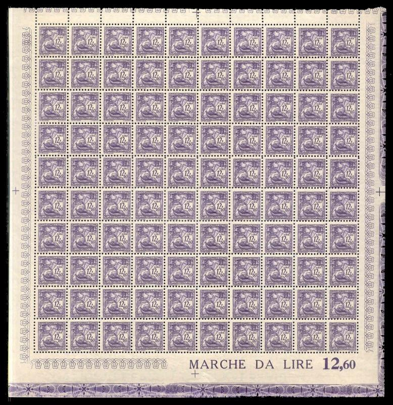 Italy 1941 12.60 L Fascist Social Security Stamp Mint Sheet #143B