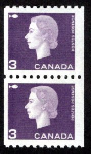 Scott 407, 3c purple, Pair, F, MNHOG, Cameo Issue, Coil, Canada Postage Stamps