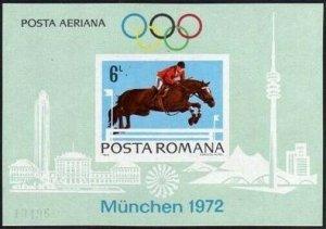 Romania C186a-C187a sheets,MNH.Michel Bl.94,98. Olympics Munich-1972.Equestrian,