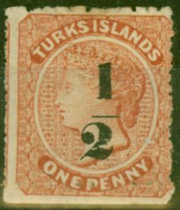Turks & Caicos Is 1881 1/2 on 1d Dull Red SG17 Setting 9 Fine Unused