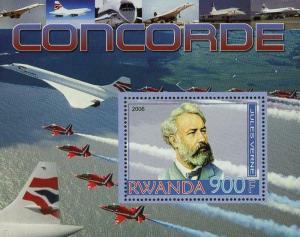 Rwanda Transportation Concorde Airplane Jet Souvenir Sheet Mint NH