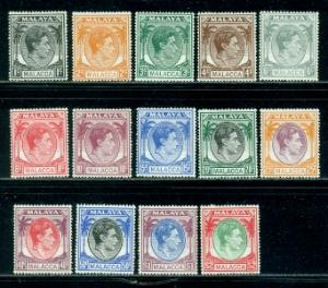 Malaya-Malacca #3-16 Part Set  Mint  Scott $54.60