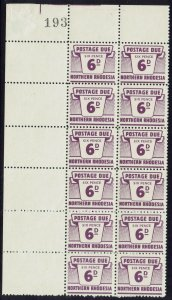 NORTHERN RHODESIA 1963 POSTAGE DUE 6D MNH ** BLOCK