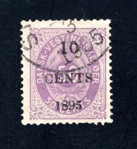 Danish West Indies #15,  F/VF,  Used  CV $67.50 ....1630015