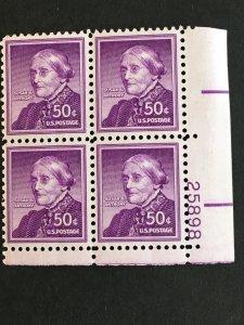Scott #1051a Susan B. Anthony - Dry Printing Plate Block MNH