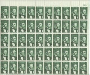 Stamp US Sc 1113 Sheet 1958 Abraham Lincoln by George Healy Civil War MNH