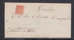 Ecuador Cover Folded Envelope 1874 Scott #10