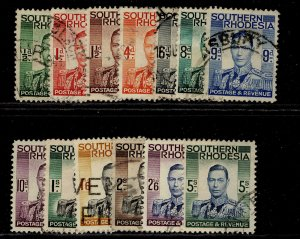 SOUTHERN RHODESIA GVI SG40-52, complete set, USED. Cat £23.