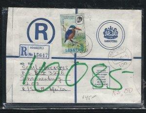 LESOTHO  (PP0310B) 1981  RLE+25C  BIRD MASERU TO SOUTH AFRICA