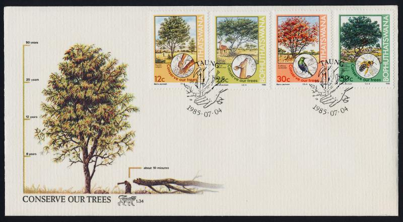 Bophuthatswana 169-72 on FDC - Trees, Animals, Birds, Insects