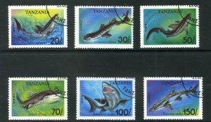 TANZANIA 1136-41 USED SHORT SET SHARKS SCV $4.00 BIN $1.75