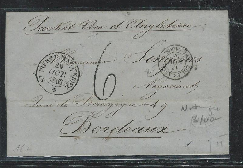 MARTINIQUE FRENCH COLONY (P2612B) 1863 STAMPLESS ST PIERRE TO FRANCE