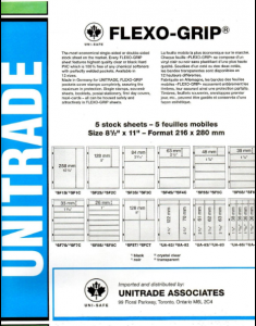 UNITRADE - UNISAFE- FLEXO-GRIP ORDER #SF3S BLACK 3 STRIPS 5 PAGES SIZE 8.5x11