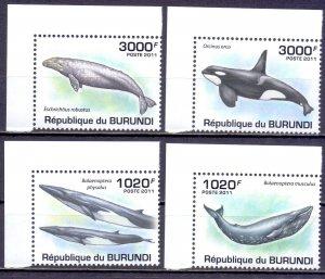 Burundi. 2011. Whales fauna. MNH.