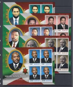 Burundi Sc 1099-1109 MNH. 2012 Presidents of Burundi, complete set of 11 s/s