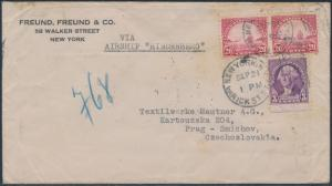 #567 (2x) & #720 ON HINDENBURG FLIGHT COVER TO CZECHOSLOVAKIA BS222