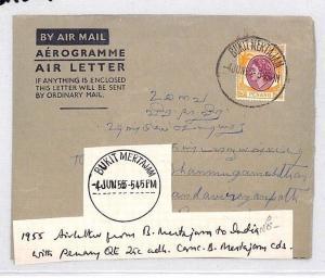 BN319 1955 Malaya Penang Bukit Mertajam Airmail Cover PTS