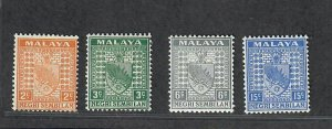 Malaya Negri Sembilan Sc#22a-22b, 25a-28a M/H/F-VF, 1941 Issues, Cv. $60