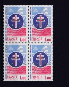FRANCE  1976   S G  2136   1F         VALUE  BLOCK OF 4  MNH  NO F220