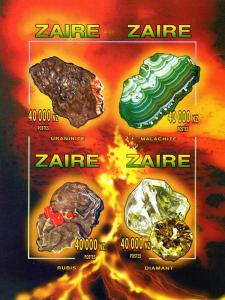 Zaire 1996 Halley's Comet/Minerals 2Shlt(8)+SS Imperf MNH VF