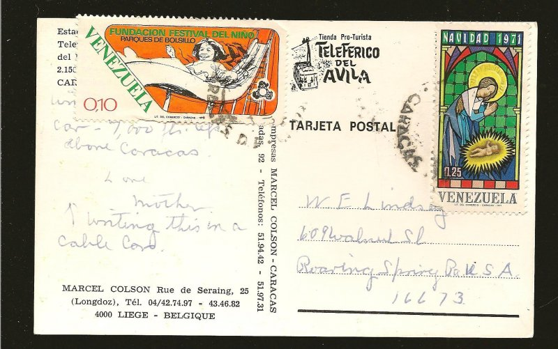 Venezuela 992 & 1050 on Postmarked 1973 to USA Postcard Used