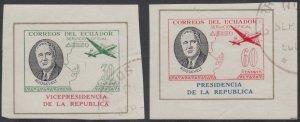 ECUADOR 1949 ROOSEVELT AIR OFFICIAL Bts O262 & O265 TOP VALUE MINISHEETS USED