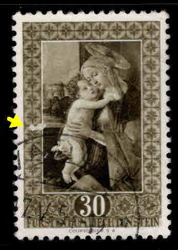 LIECHTENSTEIN Scott 262 Used 1952 Madonna stamp Scuffed