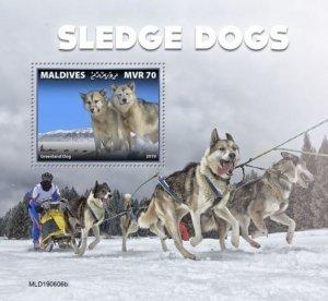 MALDIVES - 2019 - Sledge Dogs - Perf Souv Sheet - MNH