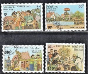 LAOS STAMPS SC# 994-97  *CTO* 1990  NEW YEARS   SEE SCAN