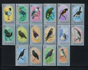 ST. LUCIA SCOTT #387-402 1976 QEII BIRDS SET- MINT NEVER HINGED