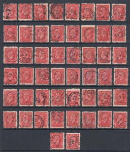 Canada Sc 197 3c KGV Medallion, 50 with CDS cancels, most nice strikes & dates.