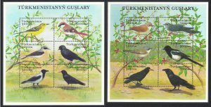 Turkmenistan Birds 2 Sheetlets of 12v SG#MS111