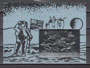 Sharjah, Mi cat. 1059, BL133 B. Apollo 17, Silver Foil, Space s/sheet.