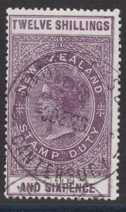 NEW ZEALAND 1880 LONG TYPE STAMP DUTY 12/6d used............................J254