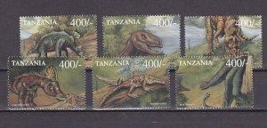 Tanzania, Scott cat. 1986 a-f. Dinosaurs issue. ^