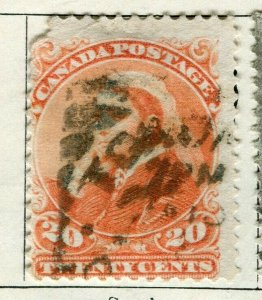 CANADA; 1893 early classic QV issue used 20c. value
