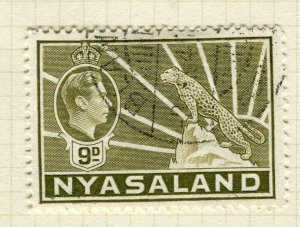NYASALAND; 1938 early GVI issue fine used 9d. value