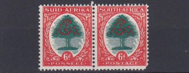 SOUTH AFRICA  1946   6D  GREEN & RED ORANGE  MH  SHORT PERF