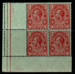 TURKS & CAICOS IS. SG138b 1921 2/= RED/EMERALD BLOCK OF 4 MNH