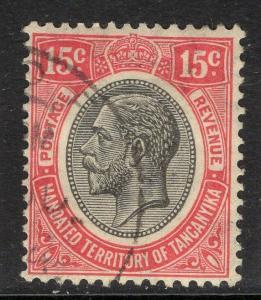 TANGANYIKA SG95 1927 15c CARMINE-RED USED
