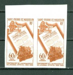 ST.PIERRE & MIQUELON 1966 IMPERFORATED PAIR AIR  #C34...MNH