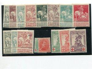 Belgium  Lot of Semi Postals Mint VF     - Lakeshore Philatelics