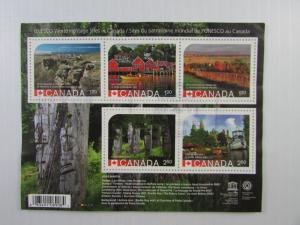 2014 Canada SC #2739 UNESCO WORLD HERITAGE SERIES Used souvenir sheet