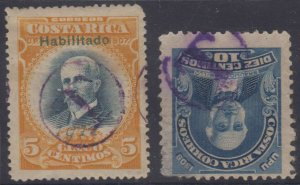 COSTA RICA 1910-11 DUE MARKS Sc 73 & 82 CHOICE CIRCLED T DUE CANCELS SCARCE