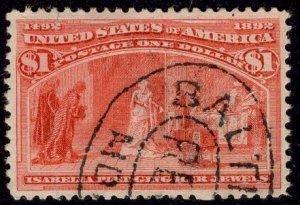 US Stamp #241 $1 Dollar Columbian USED SCV $525. Fantastic color, Margins!