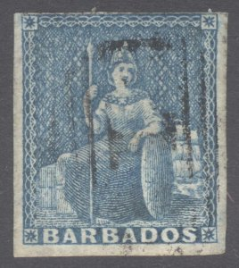 Barbados 1855 (1d) Pale Blue white paper SG 9 Scott 6a VFU Cat £70($92)